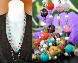 Vintage Glass Beads Pearls Flapper Necklace Multi Color Long Strand - $31.95
