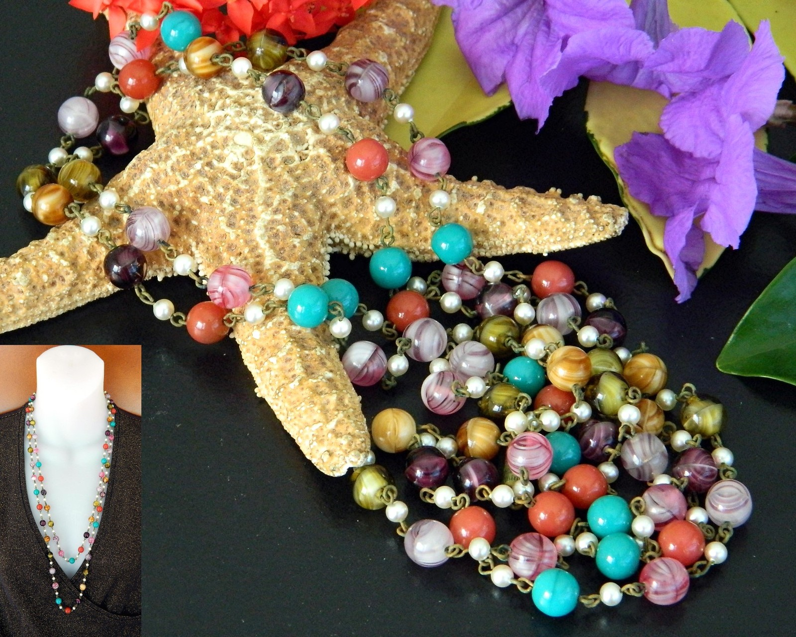 Vintage Glass Beads Pearls Flapper Necklace Multi Color Long Strand