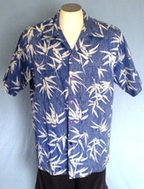 Made in Hawaii Reverse Print XL Button Down Hawaiian Shirt Vintage Blue ... - $35.00