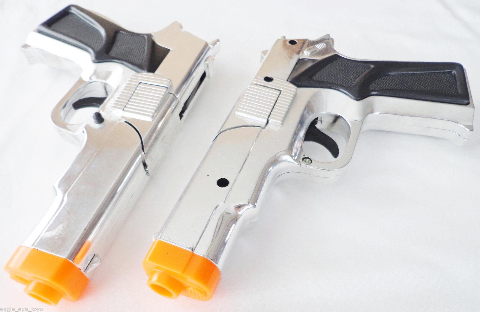 Toy Gun Military Detective 2x 9mm Pistol Cap Guns Silver