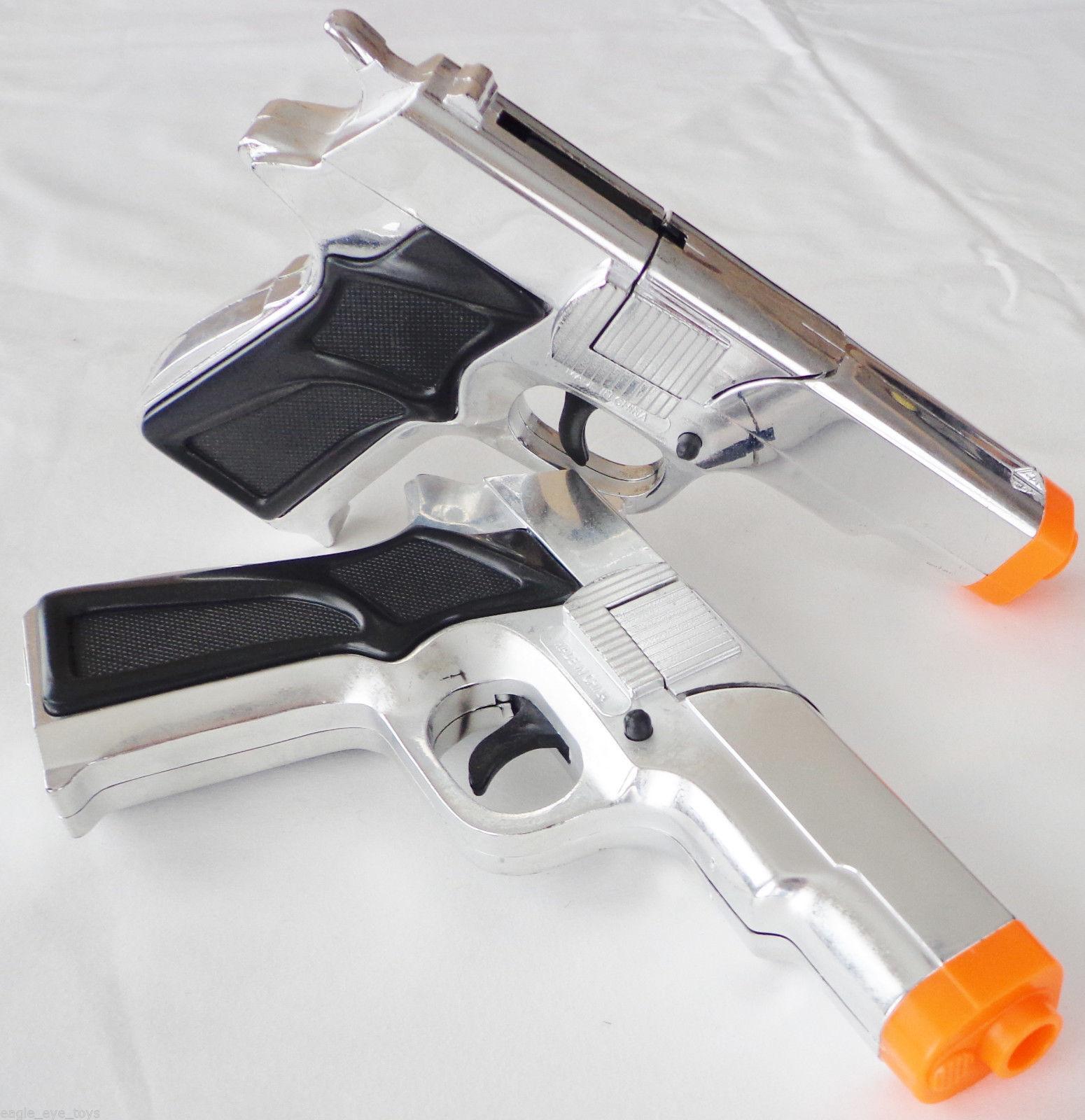 Toy Gun Military Detective 2x Black 9MM Pistol Cap Guns