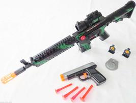 2X Toy Machine Guns Military M-16 Toy Rifle & Grey 9MM Dart Pistol Set SAFE - $19.76