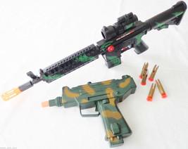 2X Toy Machine Guns Military UZI Toy Dart Pistol & M-16 Toy Rifle Set SAFE - $25.76