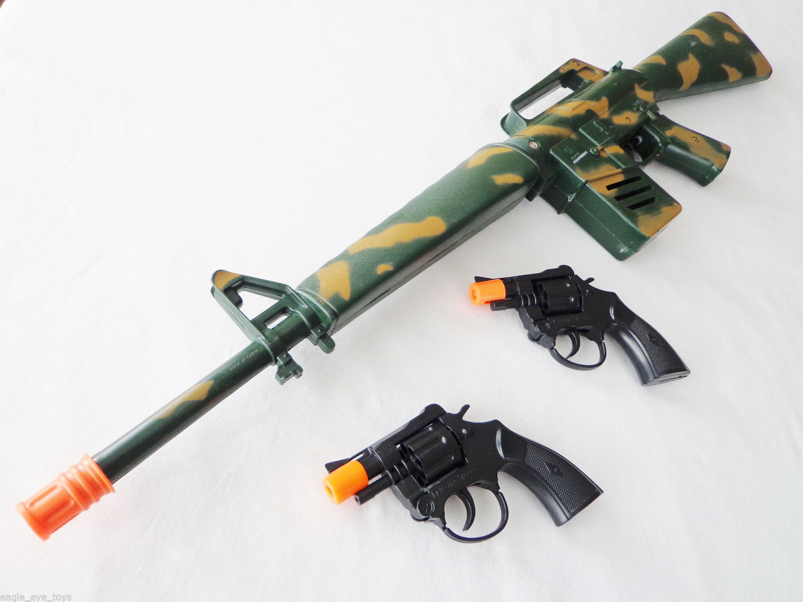 3X TOY GUNS! MASSIVE M-16 WATER GUN & 2X SNUB NOSE CAP GUN DETECTIVE MILITARY
