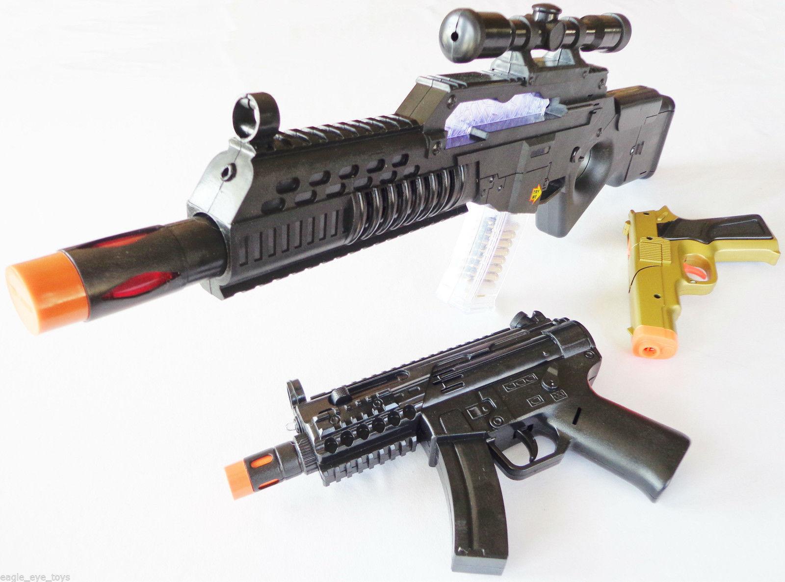 3x Toy Guns Electronic Special Forces Rifle w Sound 2x Gold 9MM Pistol Cap Gun