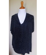 JACLYN SMITH ~ XL BLUE POLKA DOT TIE NECK TRAVELERS STRETCH BLOUSE TOP - $12.00