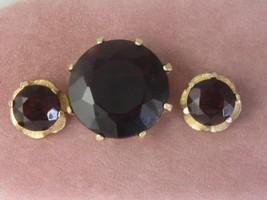 RARE VTG UNSIGNED ACCESSOCRAFT NYC 1950S ROUND TOPAZ GLASS PIN & EARRINGS - €32,21 EUR