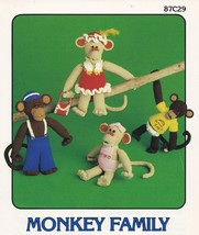 Monkey Family, Annie's Attic Crochet Toy Dolls ... - $12.95