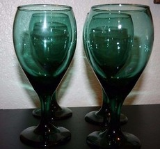 4 Vintage Libbey Green Wine Glasses Glass Water Goblet With Gold Rim Edg... - €20,39 EUR