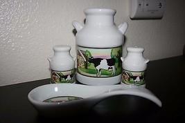 COUNTRY COW VINTAGE STYLE HOME KITCHEN DECOR SET, SPOON REST,JAR, SALT ... - $8.90