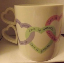 Avon Love is Valentines Day Heart Love Sayings Coffee Mug Heart Shaped H... - $18.69