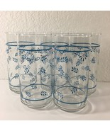 Libbey Lot of 5 Drinking Glasses Tumblers Vintage 1980s Blue Leaf Peach ... - $18.81