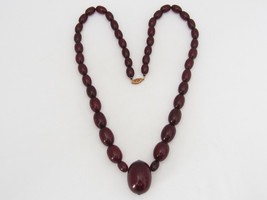 Antique 14K Solid Rose Gold Cherry Amber & Ruby Necklace 23'' Length - $1,850.00