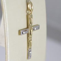 PENDENTIF CROIX OR JAUNE BLANC 750 18K,RECTANGLES,FINITION SATINÉE,MADE IN ITALY image 2