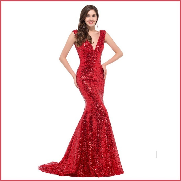 Crimson Red Sequined Lace Up Back Long Train Mermaid Evening Prom Gown