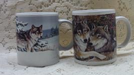 Two Vintage ENESCO Seasons Of The Wolf COFFEE MUGS // Michele Kortbawi W... - $18.00