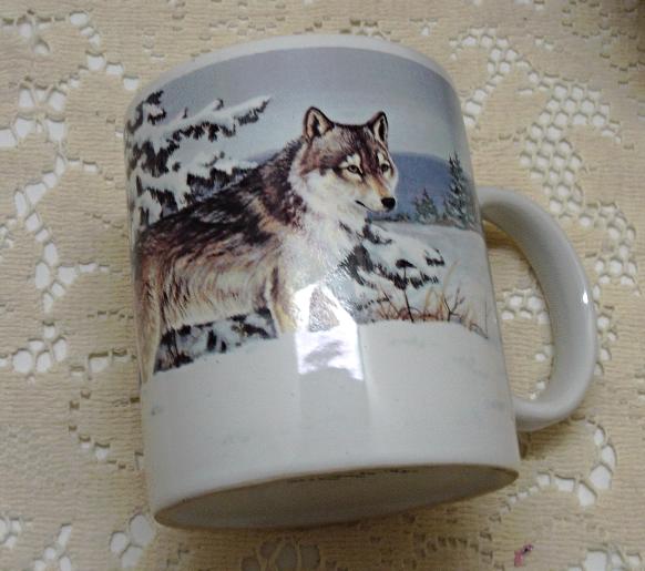 Two Vintage ENESCO Seasons Of The Wolf COFFEE MUGS // Michele Kortbawi Wilk Art