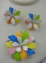 Sarah Coventry Pastel Flower Pin And Earring Set - $35.00