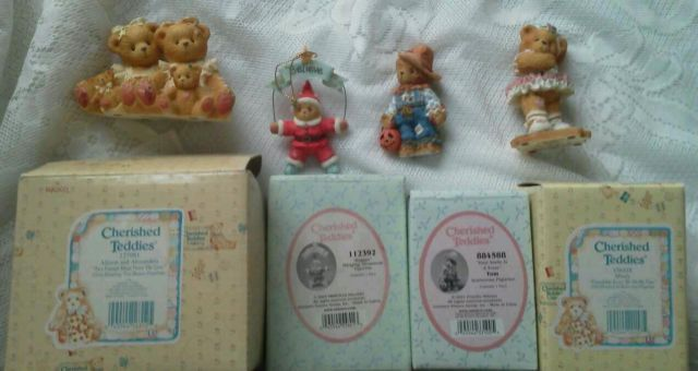 Primary image for Set 4 CHERISHED TEDDIES Believe Friendship Toes Scarecrow Allison Alexandria NEW