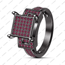Black Gold Plated 925 Sterling Silver Round Cut Pink Sapphire Engagement Ring - $84.99