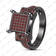Stylish Black Gold Fn.925 Sterling Silver Round Cut Red Garnet Engagemen... - $94.99