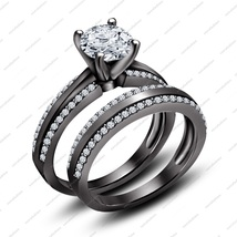 925 Sterling Silver Black Platinum Plated Round Cut White CZ Engagement Ring - $85.99