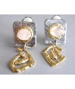 Unique Pink Square Earrings Semi Precious Stone... - $99.00