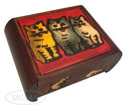 Three Cats Secret Wooden Keepsake Box Polish Handmade Jewelry Box - €36,07 EUR