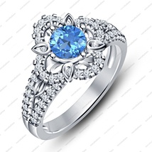 14k White Gold Plated Disney Princess Merida Aquamarine Engagement+Wedding Ring - $78.99