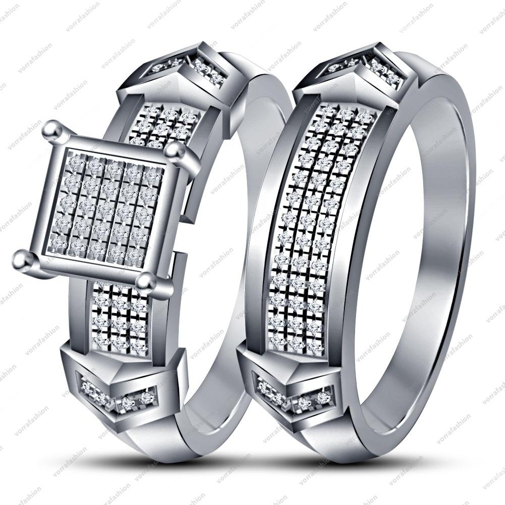White Platinum Plated Round Cut White CZ Engagement+Wedding Bridal Ring Set 6 7