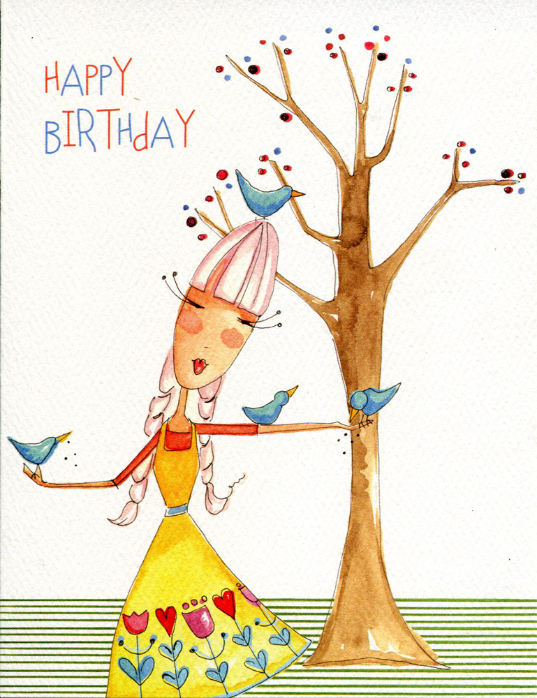 "(1) One Greeting Card Girl with Birds ""Happy Birthday"""