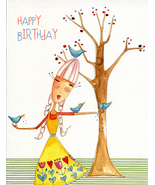"(1) One Greeting Card Girl with Birds ""Happy Birthday""  - $2.50"