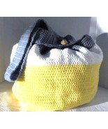 Large Tote Diaper Bag Hand Crocheted Fully Lined with Vintage Pin - $39.75