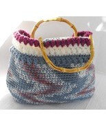 Large Tote Hand Crocheted Fully Lined Bamboo Handles Blue Plum White - $39.75