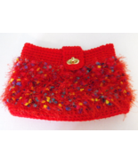 Handcrafted Crochet Clutch Purse Red Fun Fur Fully Lined - $34.75