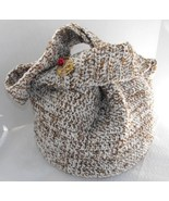 Crocheted Shoulder Bag Fully Lined Handcrafted with Vintage Pin - $39.75