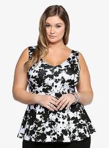 Size 5 26 28 Torrid Black & White Peplum Top ~ Abstract Print ~ NWT - $27.17