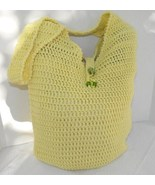Hand Crocheted Fully Lined Market Bag in Yellow Cotton Blend - $34.75
