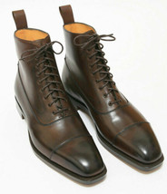 Handmade Men's Brown Leather High Ankle Lace Up Boots image 3