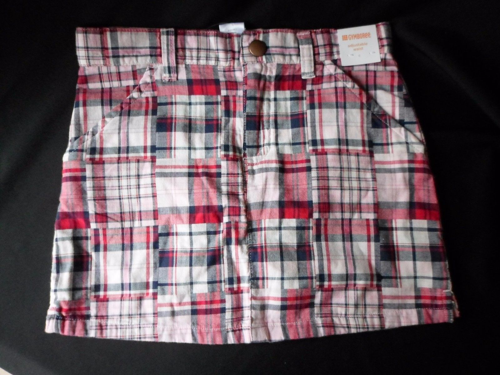GYMBOREE WINTER CHEER RED PLAID BUTTON SKORT 6 9 10 12 NWT