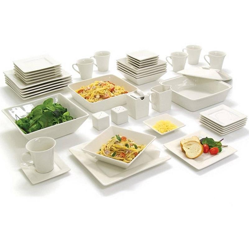 Dinner set dinnerware kitchen banquet square dishes plates for Kitchen dish sets
