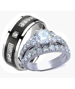 Her & His Stainless Steel Wedding & Engagement ... - $38.99