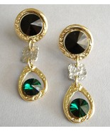 Emerald Green Black Crystal Earrings Gold Silver Unique Clip-on Dangle  - $149.00