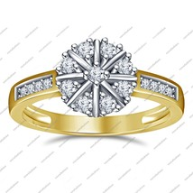 Round Cut White Sim Diamond 14K Gold Plated 925 Sterling Silver Engagement Ring - $68.99