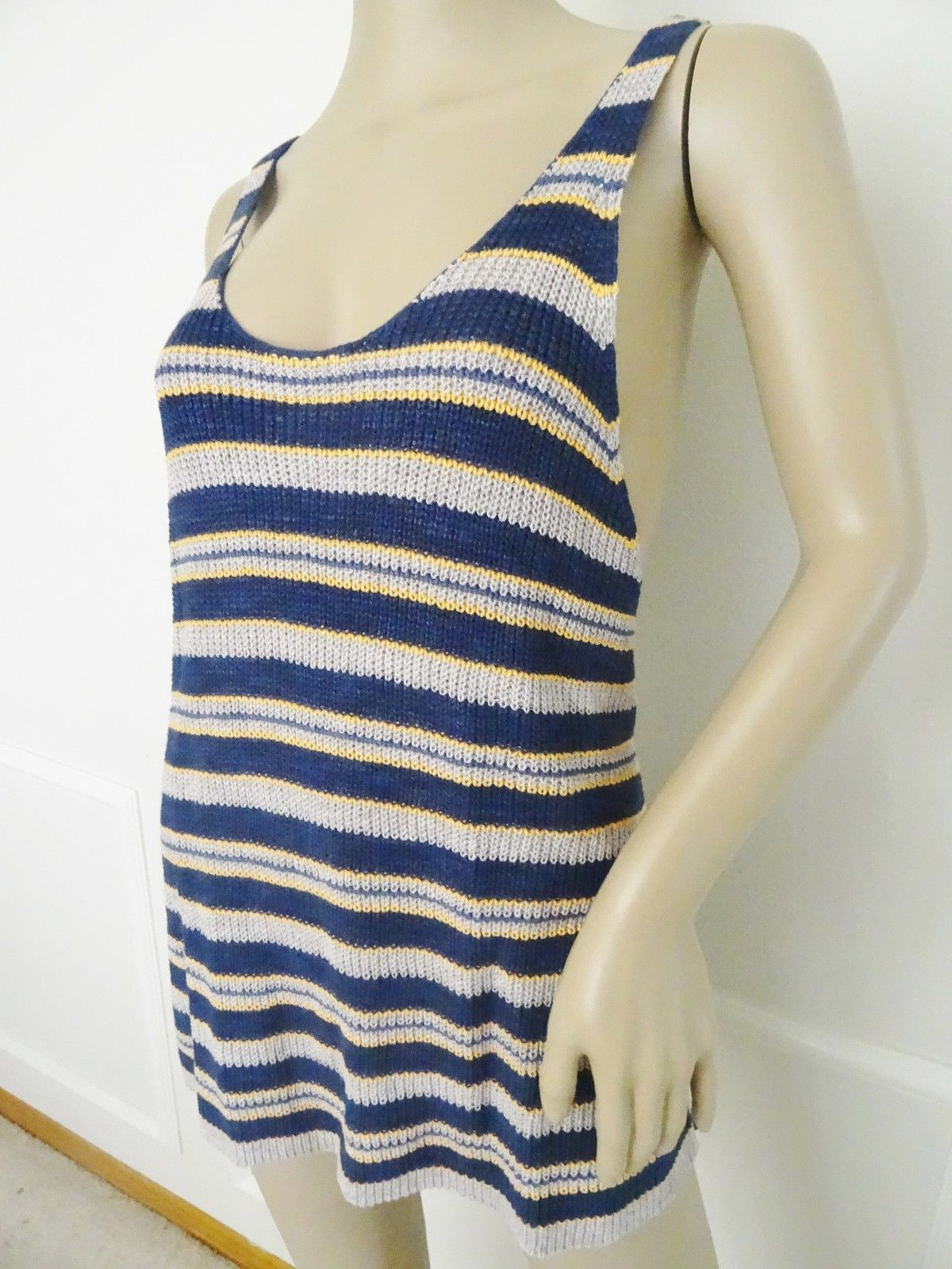 Nwt Free People Sweater Knit Stripe Sailor Tank Top Shirt L Large Navy Gray $98