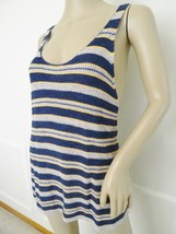 Nwt Free People Sweater Knit Stripe Sailor Tank Top Shirt L Large Navy Gray $98 - $44.50