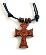 Christian Orthodox Greek Religious Pendant Necklace with Wood Cross / 18 - $12.38