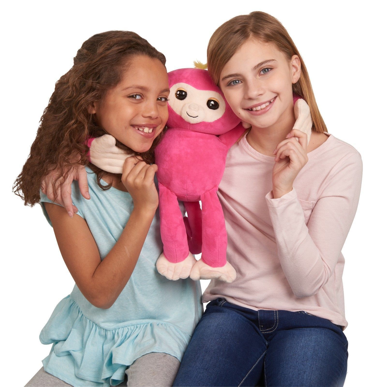 Fingerlings HUGS Bella (Pink)  Advanced Interactive Plush Baby Monkey Pet WowWee