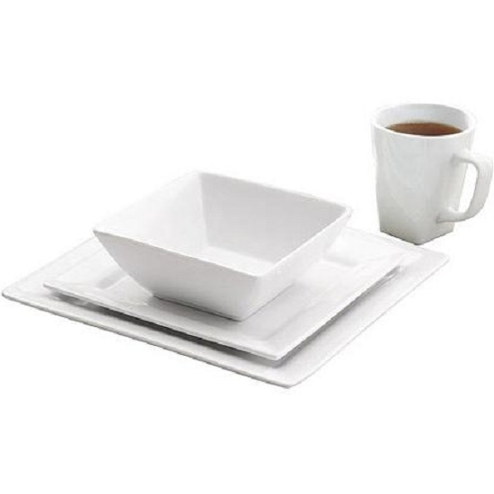 dinnerware set dinner kitchen bowls service mugs square