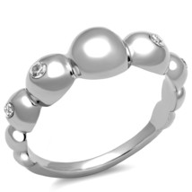 SILVER TONE STAINLESS STEEL RAISED ROUND SHAPE CZ BAND STYLE RING SIZE 5... - $12.59